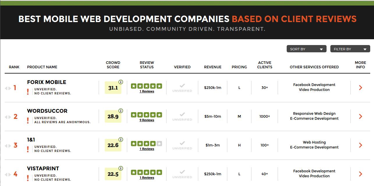 WordSuccor Ltd. is ranked #2 amongst the best mobile website development companies