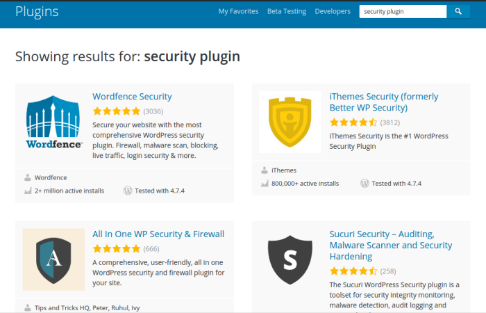 Install WordPress Security Plugin