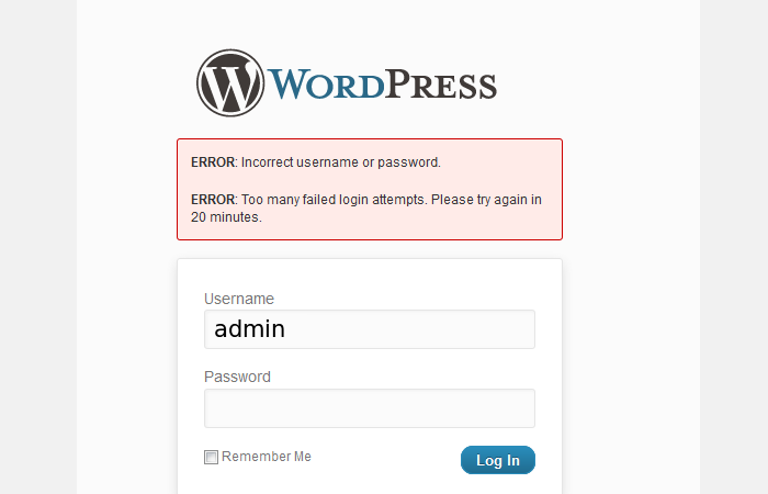WordPress Limited Login Attempts