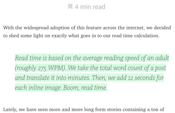 Medium Estimating Reading Time Feature